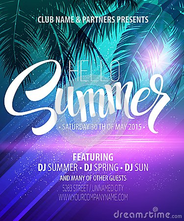 Free Hello Summer Beach Party Flyer. Vector Design Stock Image - 54836491