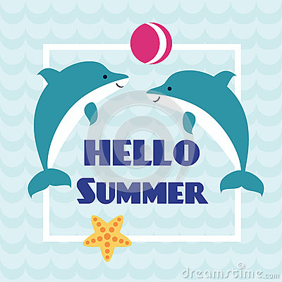 Hello Summer Card With Playing Dolphins Stock Vector   Image: 73410891