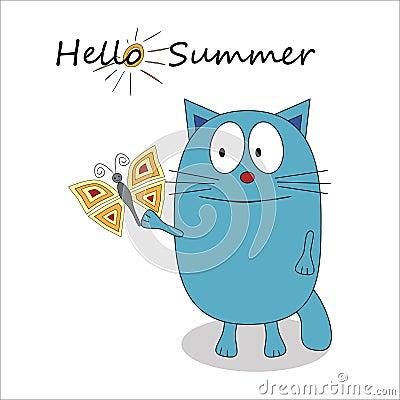 Hello Summer Cartoon Character - Vector Stock Vector - Image: 55586386