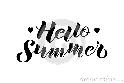 Hello Summer hand drawn lettering composition Vector Illustration