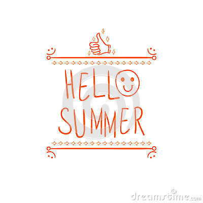 `Hello summer` handwritten orange letters and hand drawn vignette with thumbs up doodle sign. Vector Illustration