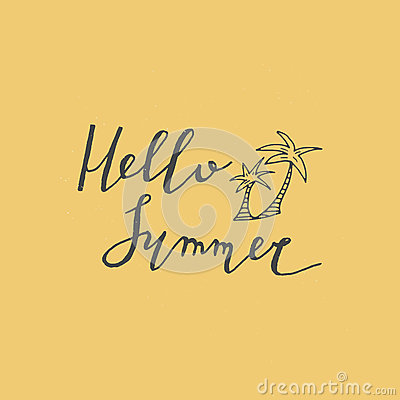 Hello summer lettering with palm. Vector Illustration
