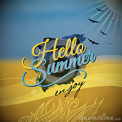 Hello Summer Vector blurred background
