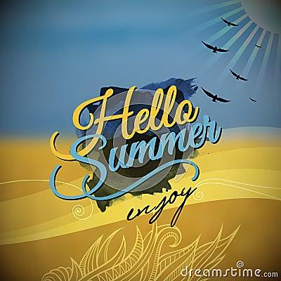 Hello Summer Vector blurred background