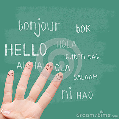 Hello in various languages on chalkboard royalty free for Green in different languages
