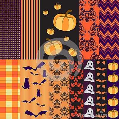 Free Helloween Seamless Patterns For Scrapbooking Royalty Free Stock Photo - 44317525