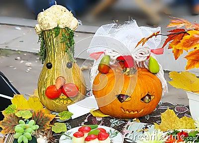 Helloween vegetables pumpkin composition concept