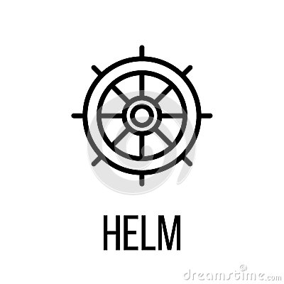 Helm icon or logo in modern line style. Vector Illustration