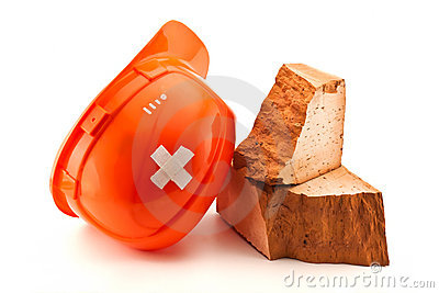 Helmet  with court plaster and broken brick