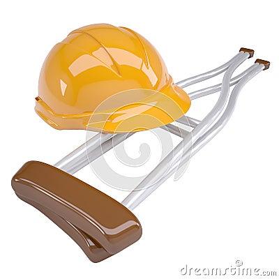 Helmet and crutches
