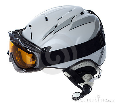 Helmet and goggles skier