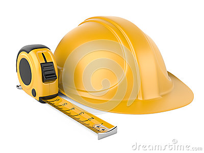 Helmet and measuring tape
