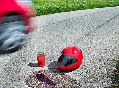 Helmet after traffic accident