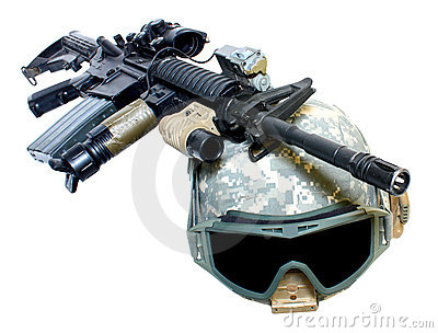 A helmet and weapon