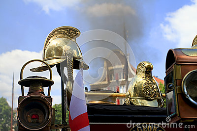 Helmets on an old steam locomotive Editorial Stock Photo