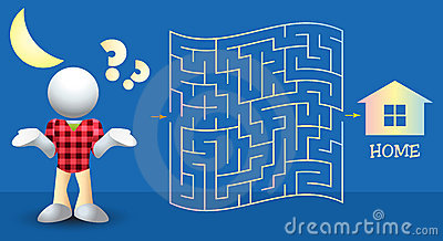 Help the Boy Find the Way Home Maze Illustration
