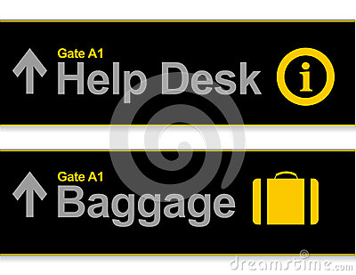 Help desk and baggage airport signs