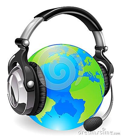 Help desk headset world globe