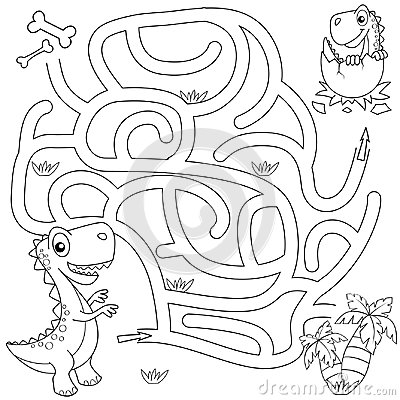 Help dinosaur find path to nest. Labyrinth. Maze game for kids. Black and white vector illustration for coloring book Vector Illustration