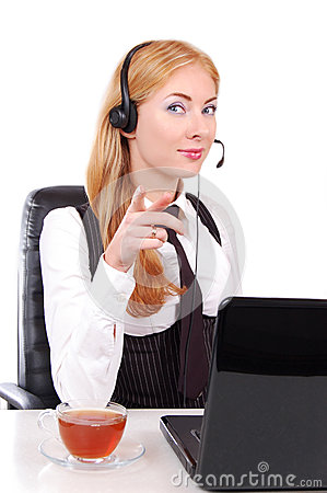 Help line assistant pointing at you