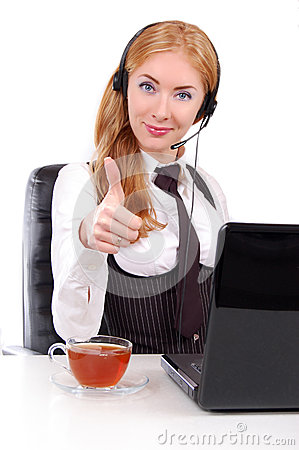 Help-line woman assistant with thumb up