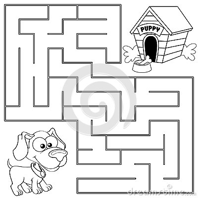 Free Help Puppy Find Path To His House. Labyrinth. Maze Game For Kids Royalty Free Stock Photo - 98026025