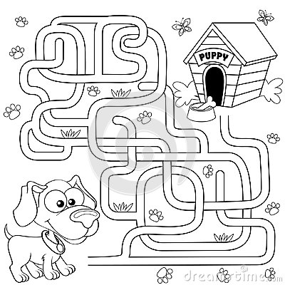 Free Help Puppy Find Path To His House. Labyrinth. Maze Game For Kids Stock Image - 98026101