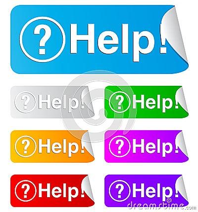 Help, rectangular stickers