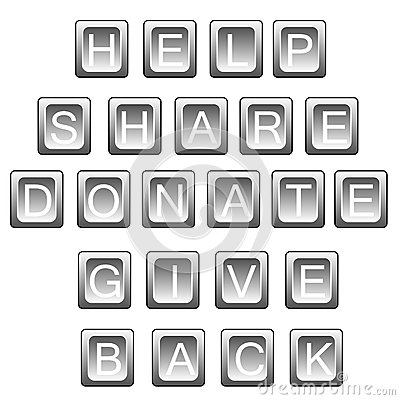 Help share donate in keyboard letters