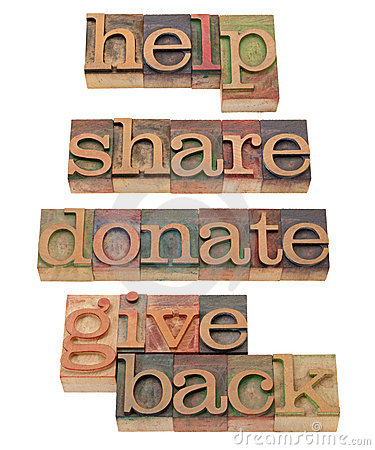 Help, share, donate in letterpress type