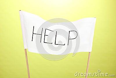 Help written on white cloth