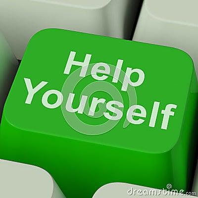 Help Yourself Key Shows Self Improvement Online