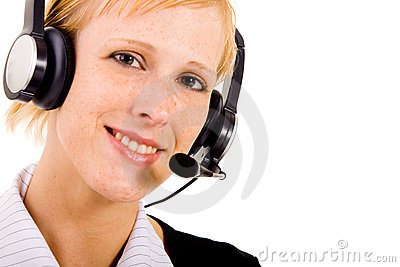 Helpdesk woman with a headset