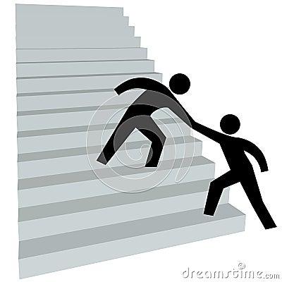 Helpend hand om vriend op trap tot bovenkant omhoog te helpen