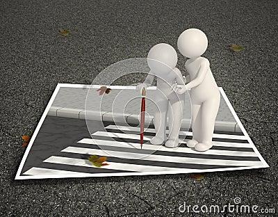 Helping old man on pedestrian crossing