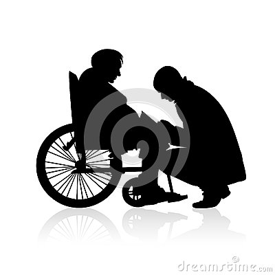 Free Helping People With Disabilities - Vector Silhouettes Royalty Free Stock Image - 63961686