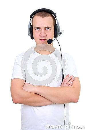 Helpline telephone operator over white
