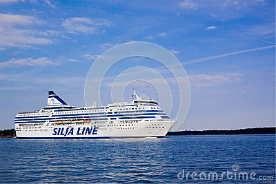 HELSINKI, FINLAND-AUGUST 18: Silja Line ferry sails from the port of Helsinki,  Finland August 18 2013.Paromy Silja Line of regula Editorial Stock Photo