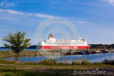 HELSINKI, FINLAND-AUGUST 18: Viking Line ferry sails from the port of Helsinki,  Finland August 18 2013.Paromy Viking Line of regu Editorial Image