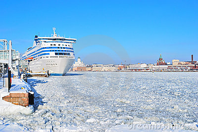 Helsinki seaport in winter