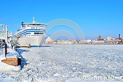 Helsinki seaport in winter