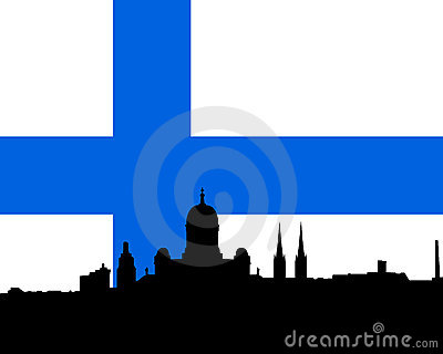 Helsinki skyline vector with flag
