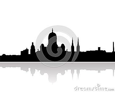 Helsinki skyline vector silhouette
