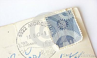 Helvetia (Switzerland) postage stamp on postcard