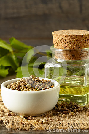 Free Hemp Seeds And Oil Royalty Free Stock Image - 64874616