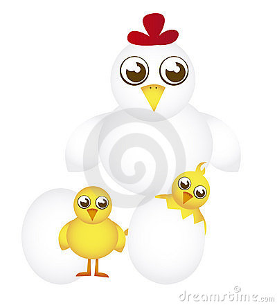 Hen and chicken cartoon
