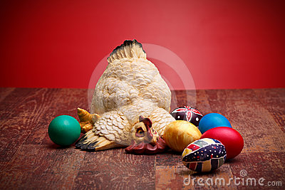 Hen With Colored Eggs