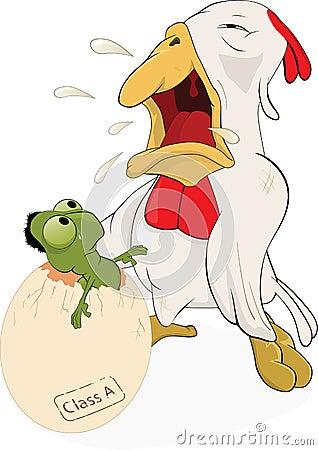 Hen, egg and a little worm. Cartoon