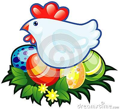 Hen end easter eggs