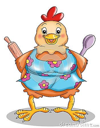 Hen in the kitchen